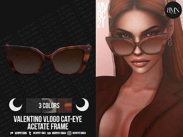 VLogo Cat Eye Acetate Frame sims 4 cc