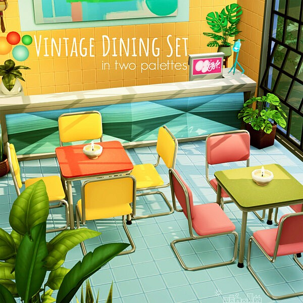 Vintage Dining Set sims 4 cc