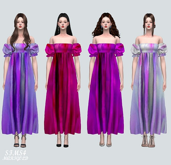 Puff Sleeves OS Long Dress from SIMS4 Marigold