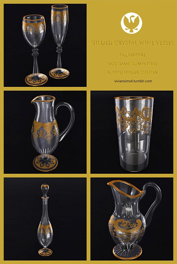 Gilded crystal wine vessel from Vivian Sims