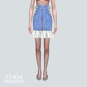 5V Lace Up Midi Skirts