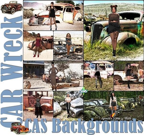 CAS Backgrounds Car Wreck sims 4 cc