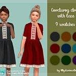 Corduroy dress with lace sims 4 cc