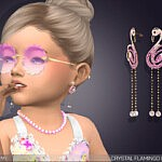 Crystal Flamingo Drop Earrings For Toddlers