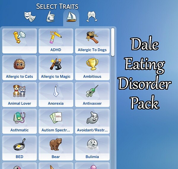 Dale Eating Disorders Pack sims 4 cc