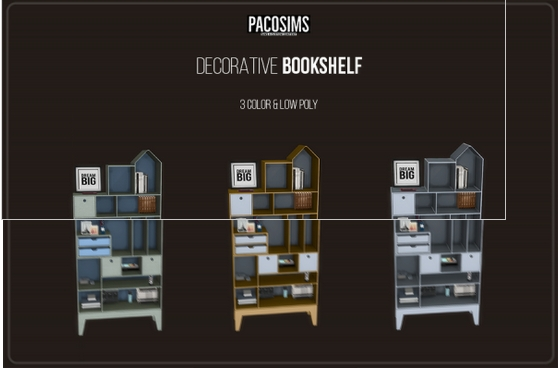 Decorative Bookshelf sims 4 cc