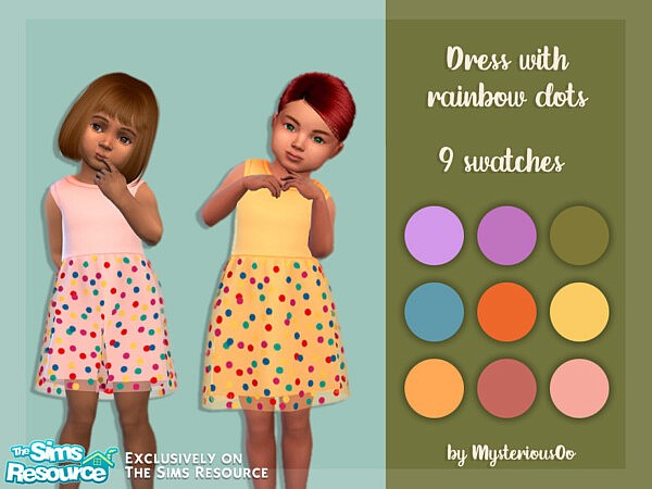 Dress with rainbow dots sims 4 cc