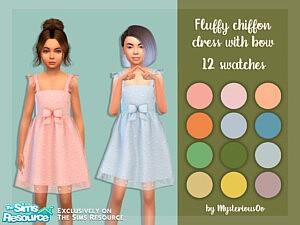 Fluffy chiffon dress with bow sims 4 cc