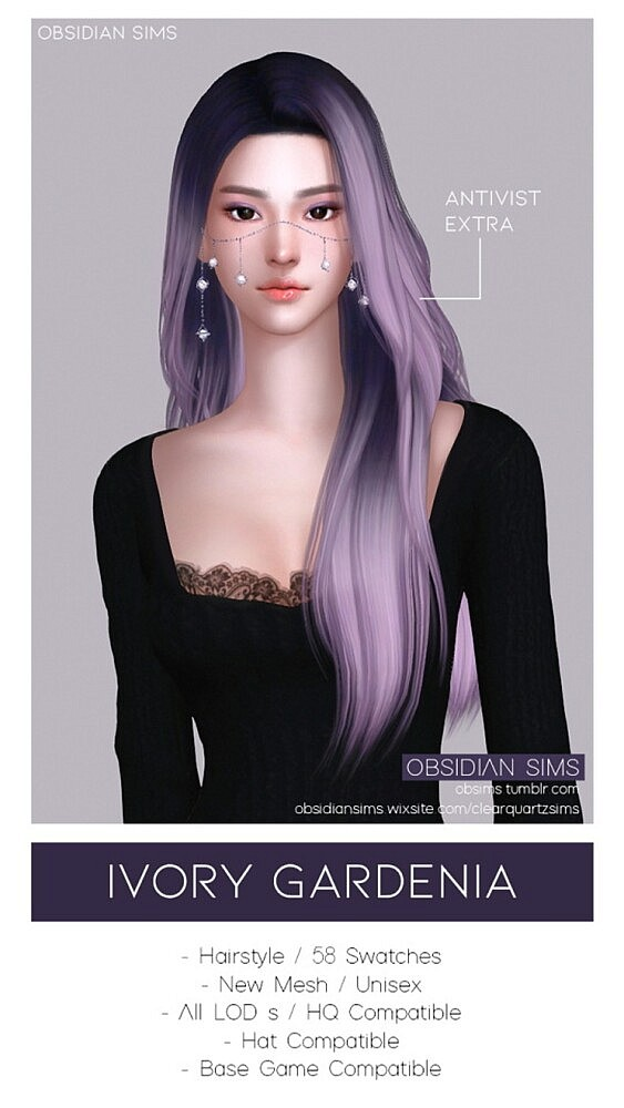 Ivory Gardenia Hairstyle from Obsidian Sims