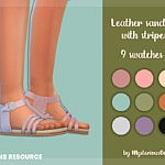 Leather sandals with stripes