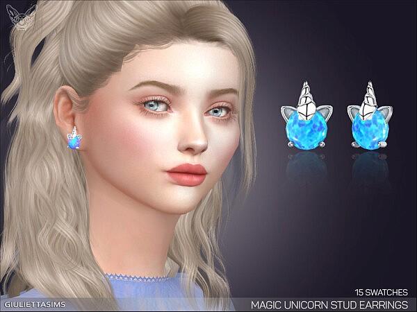 Magic Unicorn Stud Earrings sims 4 cc