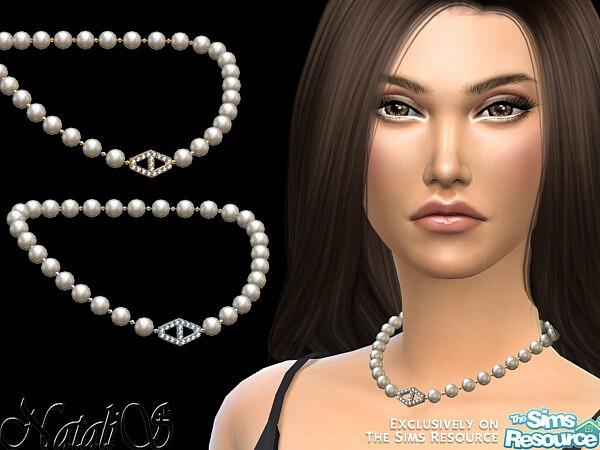 NataliS Diamond hexagon pearl necklace sims 4 cc