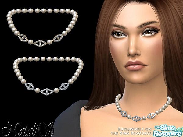NataliS Diamond hexagon pearl necklace sims 4 cc1