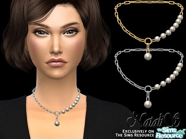 NataliS Pearl fragment chain necklace
