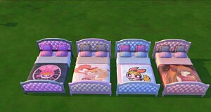 Powerpuff Girls Blossom double bed sims 4 cc