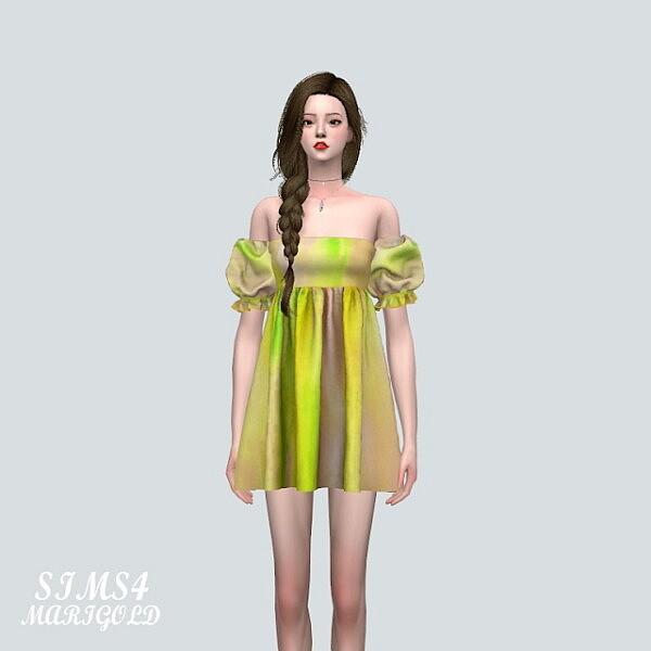 Puff Sleeves OS Mini Dress sims 4 cc