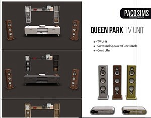 Queen Park Tv Unit and Surround System sims 4 cc