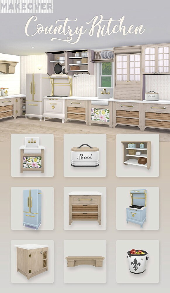 RH Country Kitchen Makeover sims 4 cc