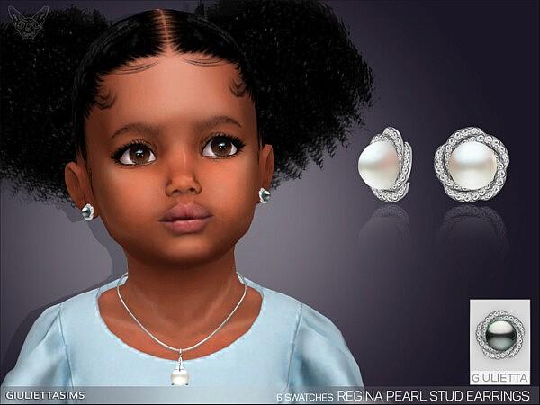 Regina Pearl Earrings For Toddlers sims 4 cc