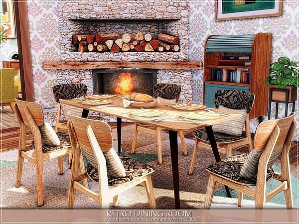 Retro Dining Room sims 4 cc