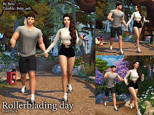 Rollerblading day Pose Pack sims 4 cc