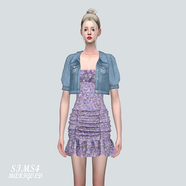 S Denim Jacket With Shirring Dress from SIMS4 Marigold