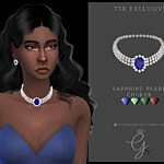 Sapphire Pearl Choker sims 4 cc
