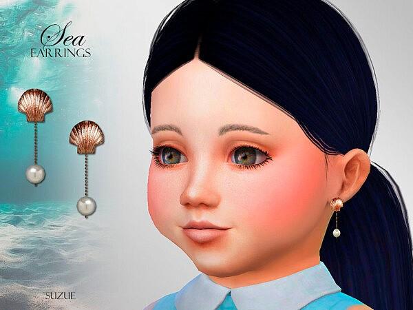 Sea Toddler Earrings sims 4 cc