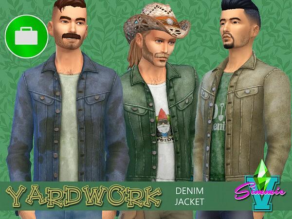 SimmieV Yardwork Denim Jacket sims 4 cc