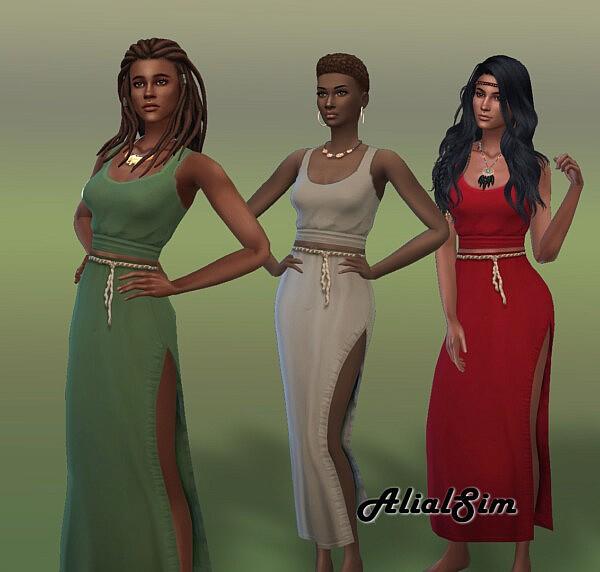 Split Skirt and Tank Top sims 4 cc