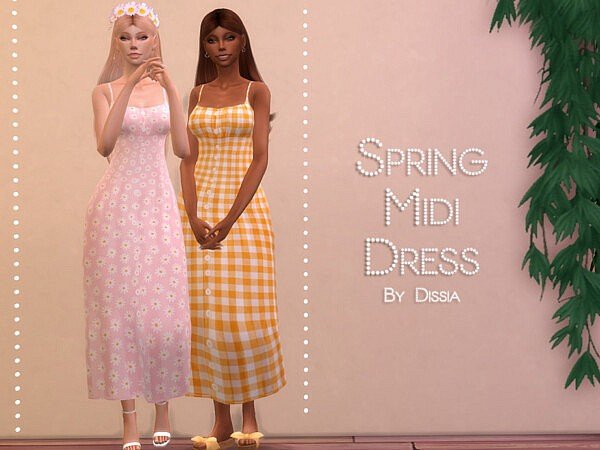 Spring Midi Dress sims 4 cc