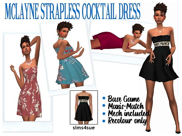 Strapless Cockteil Dress sims 4 cc