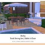 Teak Dining Set sims 4 cc
