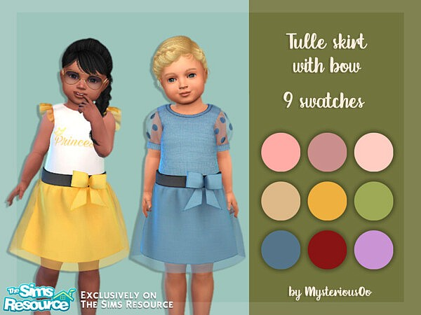 Tulle skirt with bow sims 4 cc
