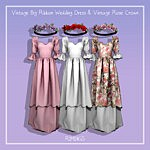 Vintage Big Ribbon Wedding Dress and Vintage Rose Crown sims 4 cc