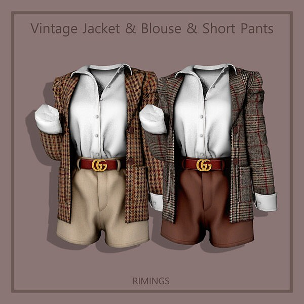 Vintage Jacket Blouse and Short Pants sims 4 cc