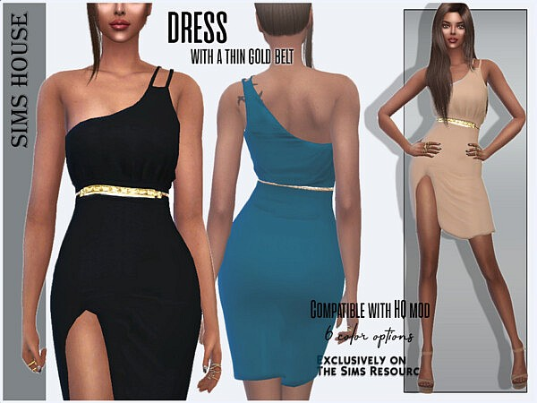 Dress with a thin gold belt
