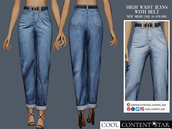 High Waist Jeans With Belt