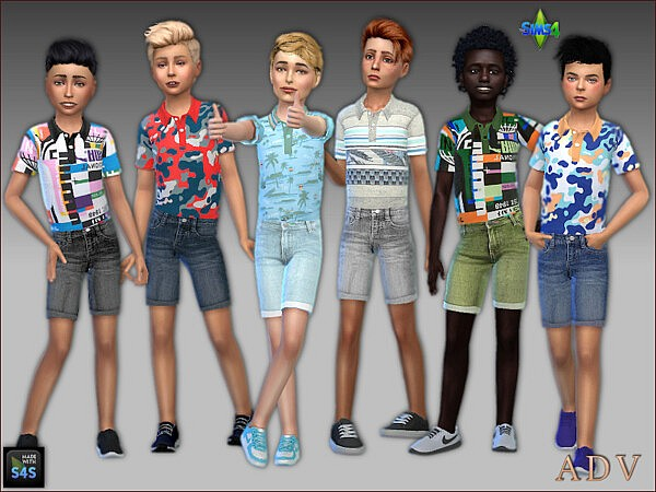Jeans shorts and poloshirts for boys sims 4 cc