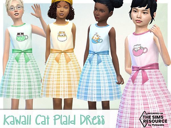Kawaii Cat and Plaid Dress