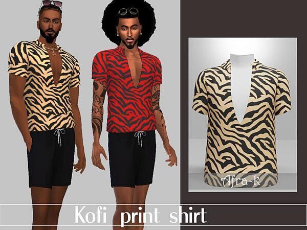 Kofi print shirt by akaysims from TSR