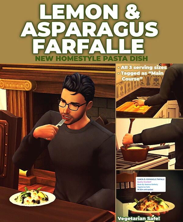 Lemon and Asparagus Farfalle New Custom Recipe sims 4 cc