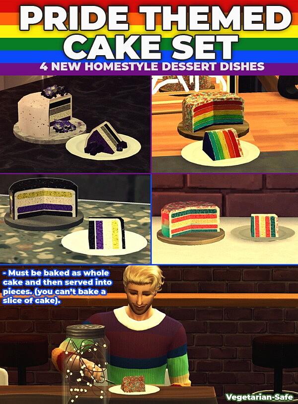Pride Cake Pack 4 New Custom Recipes sims 4 cc