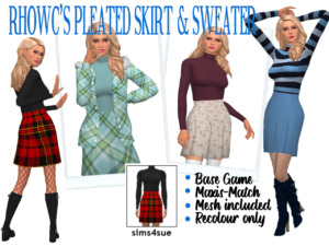 RHOWCS Pleated Skirt and Sweater sims 4 cc