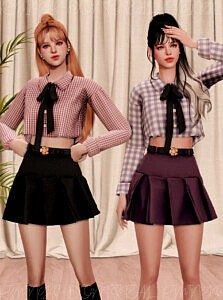 Ribbon Crop Shirt Flower Belt and Pleats Skirt