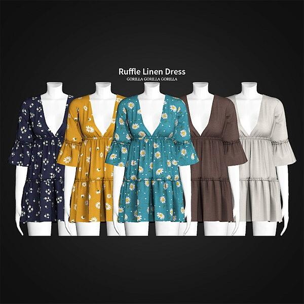 Ruffle Linen Dress sims 4 cc