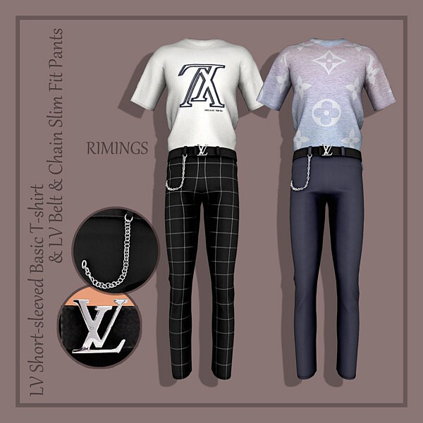 Short sleeved Basic T shirt Belt and Chain Slim Fit Pants sims 4 cc