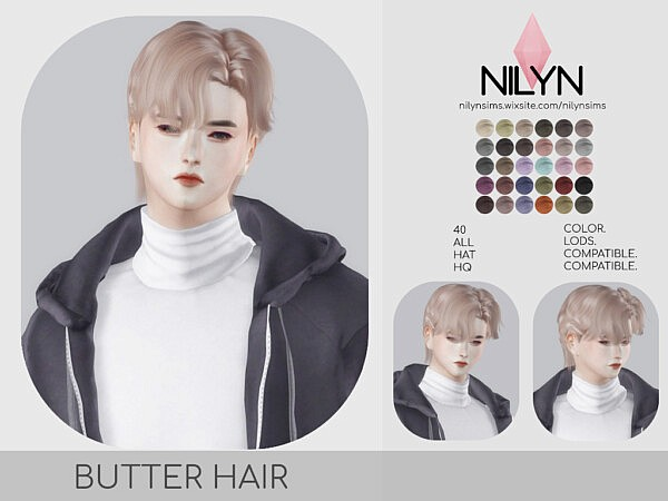 BUTTER HAIR NEW MESH from Nilyn Sims 4