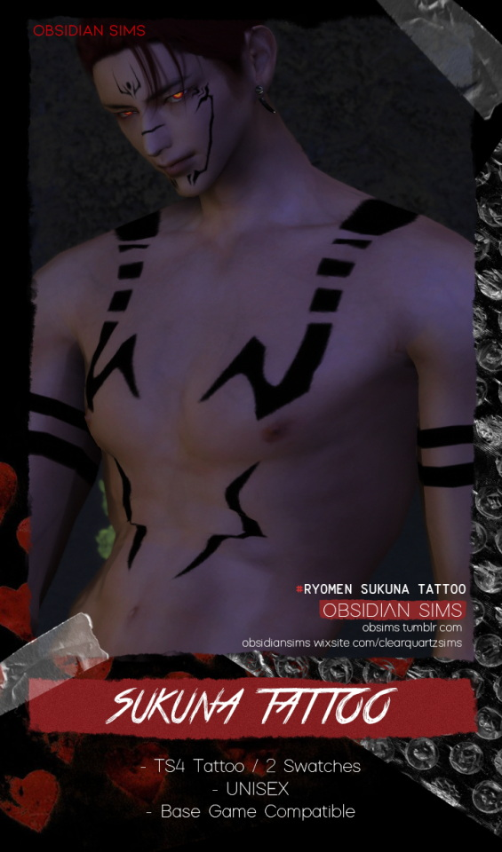 Sukuna`s Tattoo from Obsidian Sims