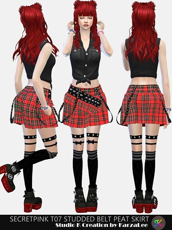T07 studded belt peat skirt